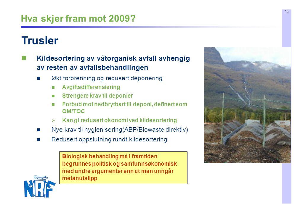 15 Hva skjer fram mot 2009? Kildesortering av våtorganisk avfall avhengig av resten av avfallsbehandlingen Økt forbrenning og redusert deponering Avgi