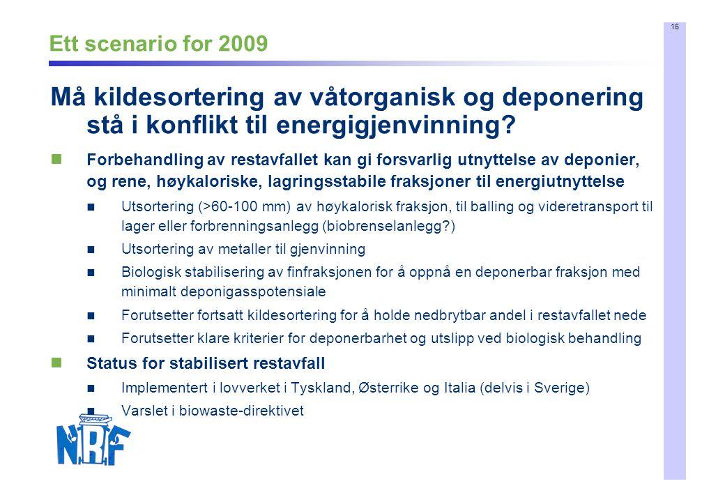 16 Ett scenario for 2009 Forbehandling av restavfallet kan gi forsvarlig utnyttelse av deponier, og rene, høykaloriske, lagringsstabile fraksjoner til
