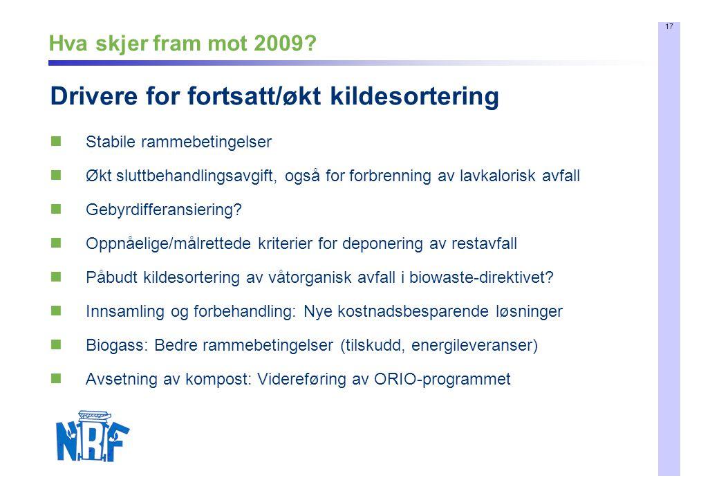 17 Hva skjer fram mot 2009? Stabile rammebetingelser Økt sluttbehandlingsavgift, også for forbrenning av lavkalorisk avfall Gebyrdifferansiering? Oppn