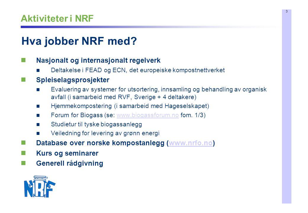 3 Aktiviteter i NRF Nasjonalt og internasjonalt regelverk Deltakelse i FEAD og ECN, det europeiske kompostnettverket Spleiselagsprosjekter Evaluering
