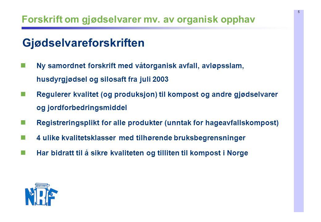 5 Forskrift om gjødselvarer mv. av organisk opphav Gjødselvareforskriften Ny samordnet forskrift med våtorganisk avfall, avløpsslam, husdyrgjødsel og