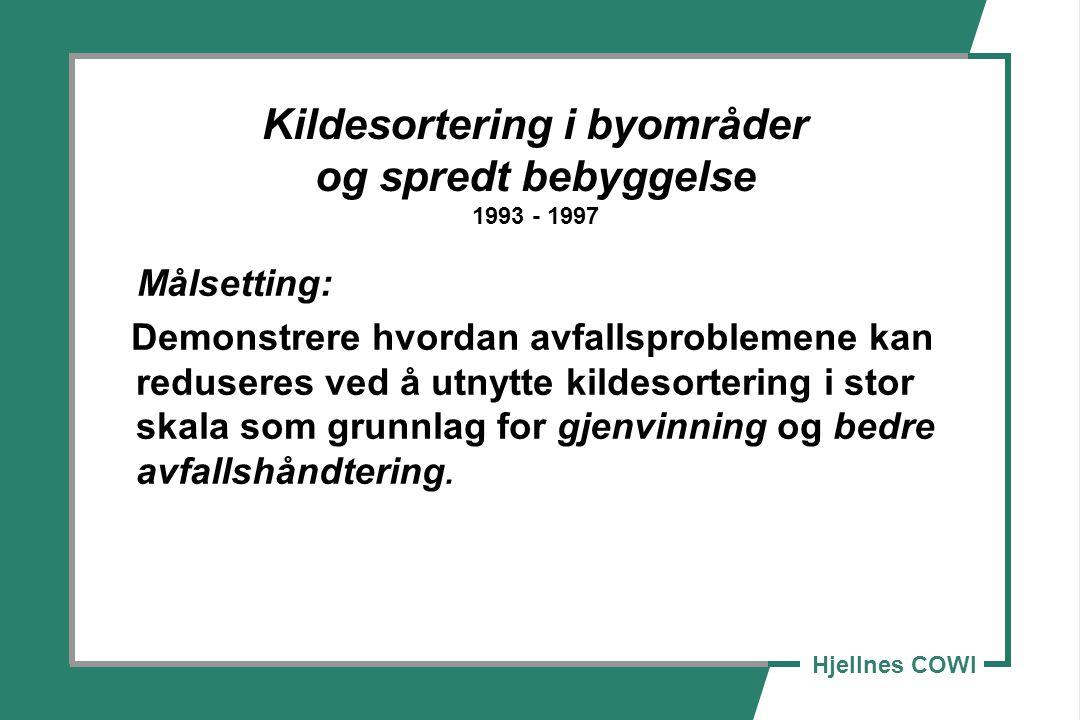 Hjellnes COWI Kildesortering i byområder og spredt bebyggelse 1993 - 1997 Målsetting: Demonstrere hvordan avfallsproblemene kan reduseres ved å utnytte kildesortering i stor skala som grunnlag for gjenvinning og bedre avfallshåndtering.