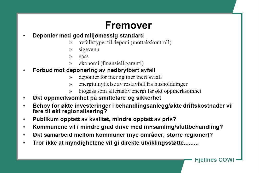 Hjellnes COWI Fremover Deponier med god miljømessig standard »avfallstyper til deponi (mottakskontroll) »sigevann »gass »økonomi (finansiell garanti)