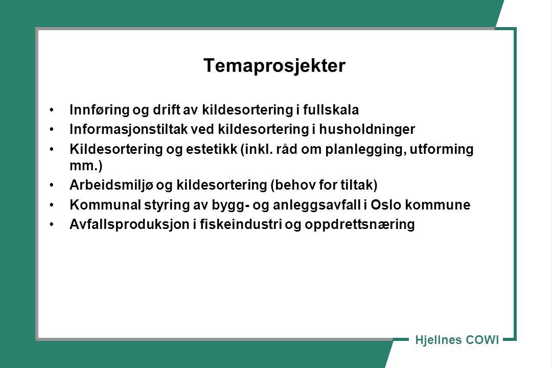 Hjellnes COWI Temaprosjekter Innføring og drift av kildesortering i fullskala Informasjonstiltak ved kildesortering i husholdninger Kildesortering og estetikk (inkl.
