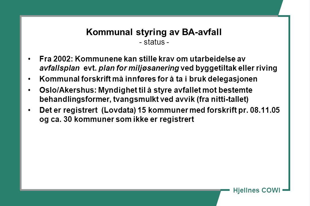 Hjellnes COWI Kommunal styring av BA-avfall - status - Fra 2002: Kommunene kan stille krav om utarbeidelse av avfallsplan evt. plan for miljøsanering