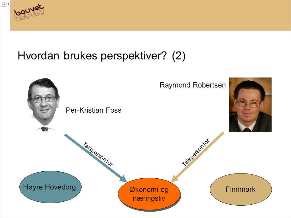 Hvordan brukes perspektiver? (2) Økonomi og næringsliv Økonomi og næringsliv Finnmark Høyre Hovedorg. Talsperson for Raymond Robertsen Per-Kristian Fo