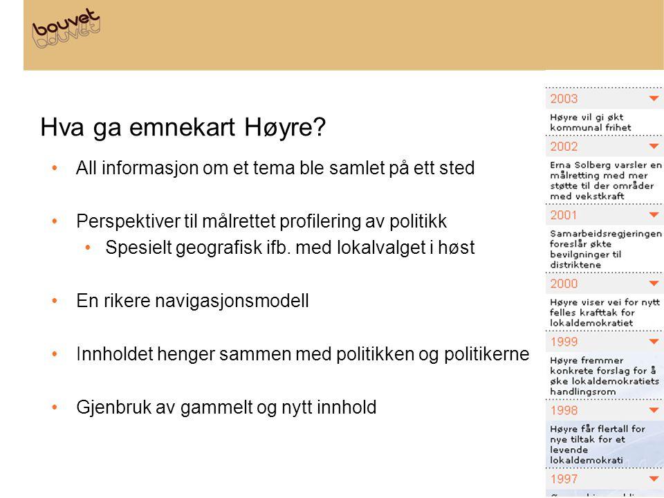Hva ga emnekart Høyre? All informasjon om et tema ble samlet på ett sted Perspektiver til målrettet profilering av politikk Spesielt geografisk ifb. m