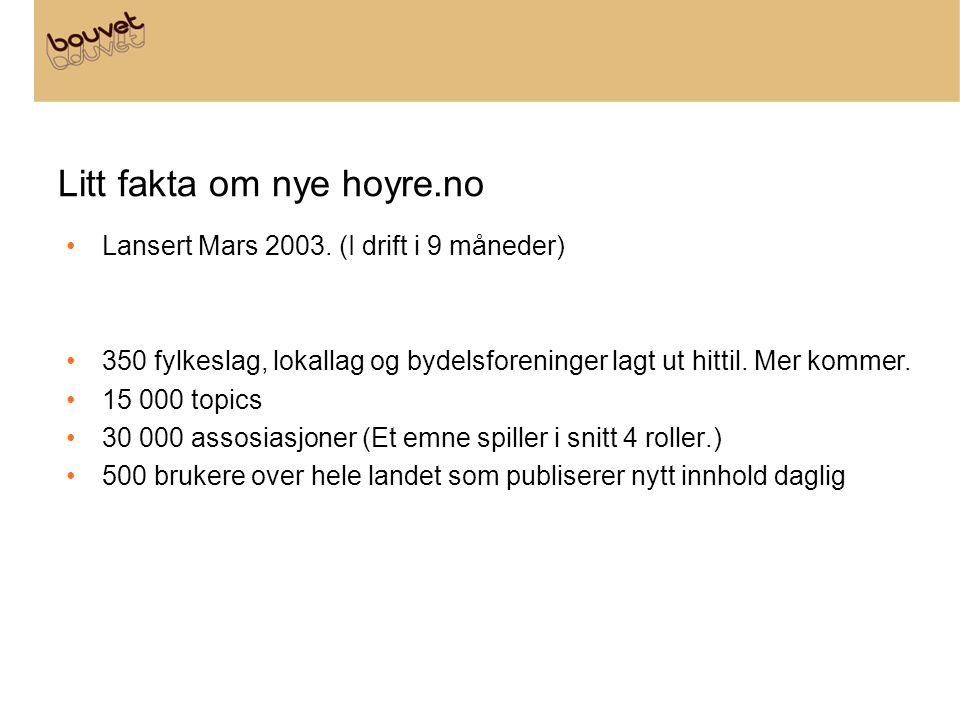 Litt fakta om nye hoyre.no Lansert Mars 2003. (I drift i 9 måneder) 350 fylkeslag, lokallag og bydelsforeninger lagt ut hittil. Mer kommer. 15 000 top