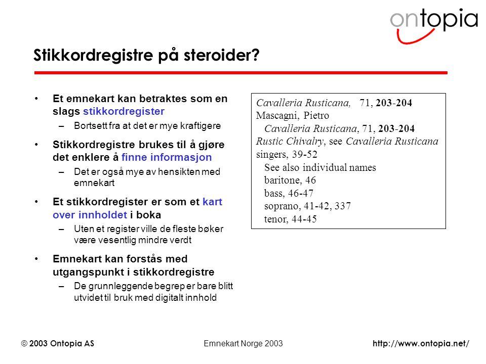 http://www.ontopia.net/ © 2003 Ontopia AS Emnekart Norge 2003 Stikkordregistre på steroider? Et emnekart kan betraktes som en slags stikkordregister –