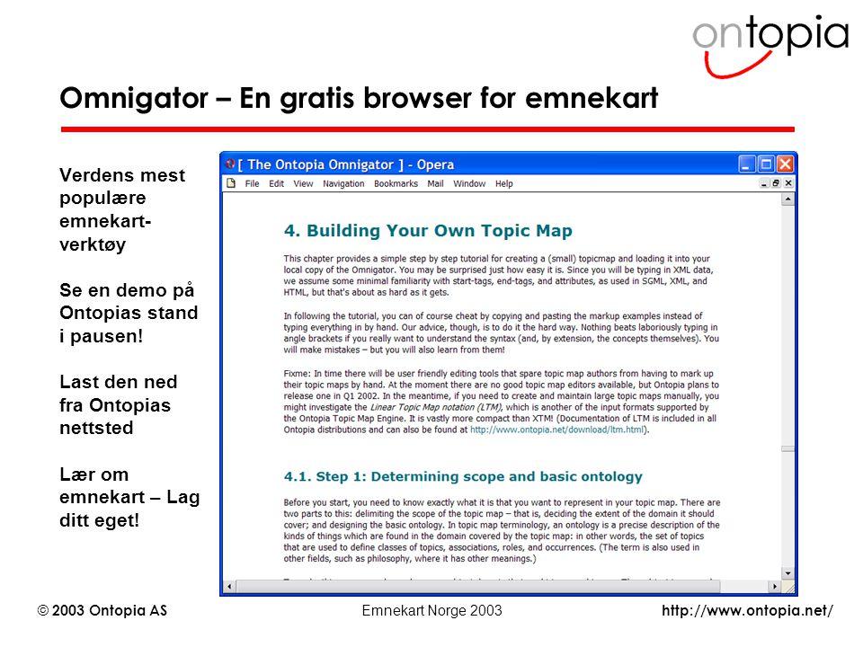 http://www.ontopia.net/ © 2003 Ontopia AS Emnekart Norge 2003 Omnigator – En gratis browser for emnekart Verdens mest populære emnekart- verktøy Se en
