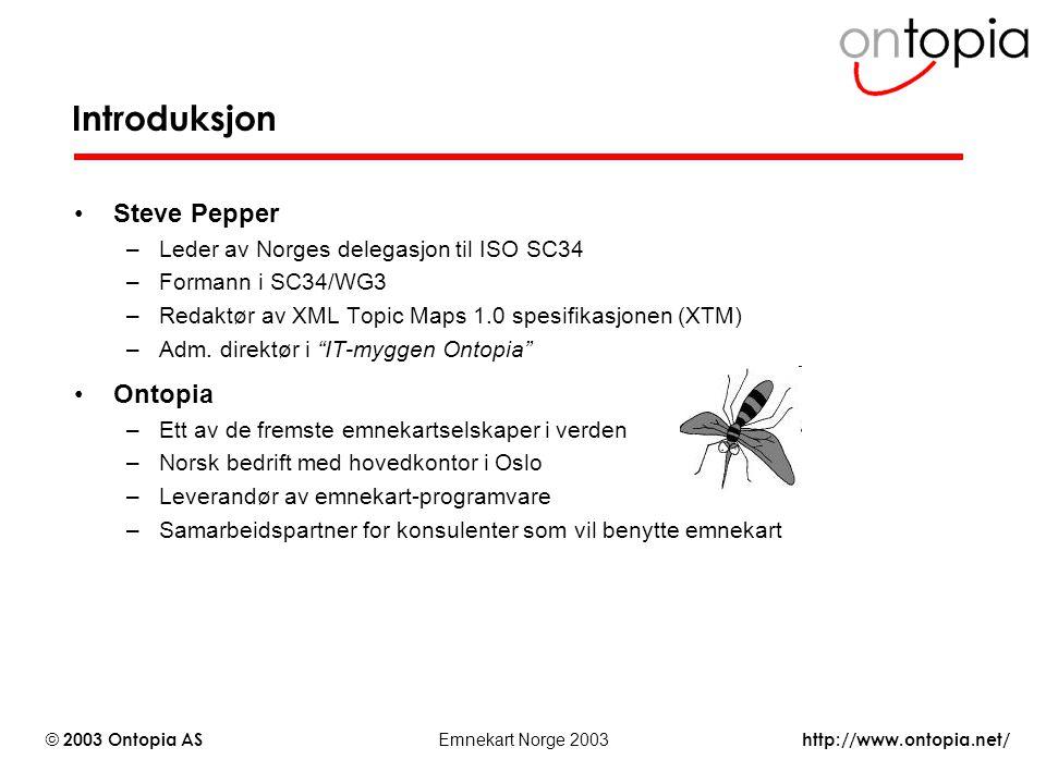 http://www.ontopia.net/ © 2003 Ontopia AS Emnekart Norge 2003 Introduksjon Steve Pepper –Leder av Norges delegasjon til ISO SC34 –Formann i SC34/WG3 –