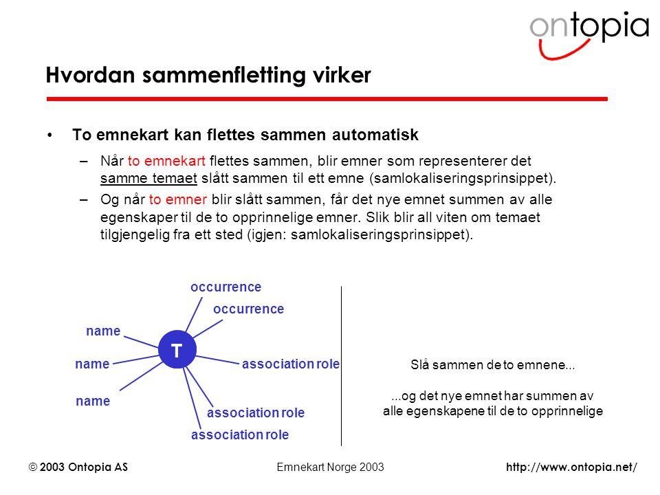 http://www.ontopia.net/ © 2003 Ontopia AS Emnekart Norge 2003 Hvordan sammenfletting virker To emnekart kan flettes sammen automatisk –Når to emnekart