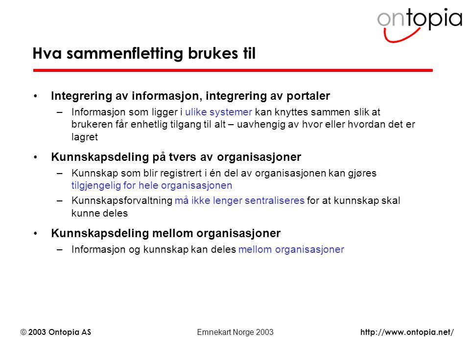 http://www.ontopia.net/ © 2003 Ontopia AS Emnekart Norge 2003 Hva sammenfletting brukes til Integrering av informasjon, integrering av portaler –Infor
