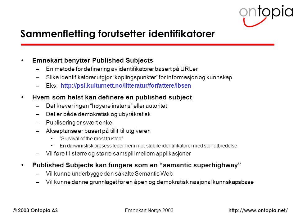http://www.ontopia.net/ © 2003 Ontopia AS Emnekart Norge 2003 Sammenfletting forutsetter identifikatorer Emnekart benytter Published Subjects –En meto