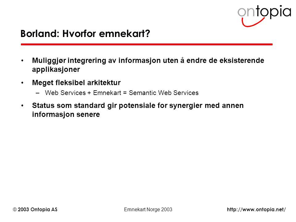 http://www.ontopia.net/ © 2003 Ontopia AS Emnekart Norge 2003 Borland: Hvorfor emnekart? Muliggjør integrering av informasjon uten å endre de eksister