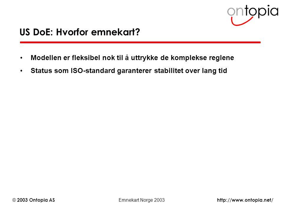 http://www.ontopia.net/ © 2003 Ontopia AS Emnekart Norge 2003 US DoE: Hvorfor emnekart? Modellen er fleksibel nok til å uttrykke de komplekse reglene