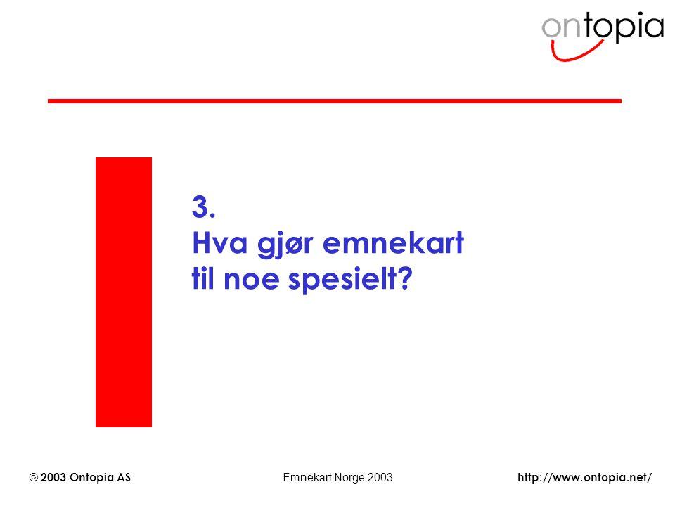 http://www.ontopia.net/ © 2003 Ontopia AS Emnekart Norge 2003 3. Hva gjør emnekart til noe spesielt?