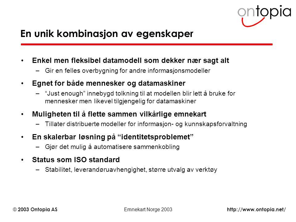 http://www.ontopia.net/ © 2003 Ontopia AS Emnekart Norge 2003 En unik kombinasjon av egenskaper Enkel men fleksibel datamodell som dekker nær sagt alt