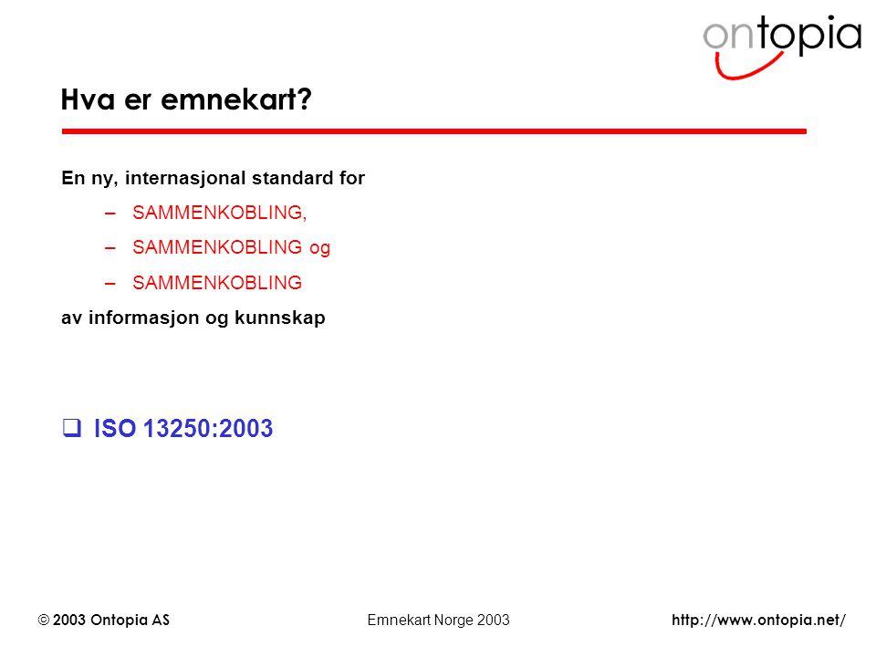 http://www.ontopia.net/ © 2003 Ontopia AS Emnekart Norge 2003 Hva er emnekart? En ny, internasjonal standard for –GJENFINNING, –GJENBRUK og –SAMMENKOB
