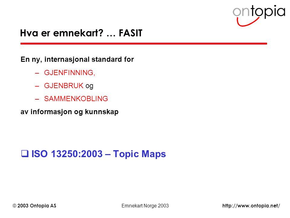 http://www.ontopia.net/ © 2003 Ontopia AS Emnekart Norge 2003 En ny, internasjonal standard for –GJENFINNING, –GJENBRUK og –SAMMENKOBLING av informasj