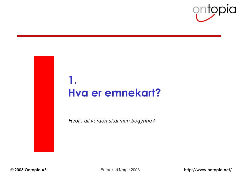 http://www.ontopia.net/ © 2003 Ontopia AS Emnekart Norge 2003 1. Hva er emnekart? Hvor i all verden skal man begynne?