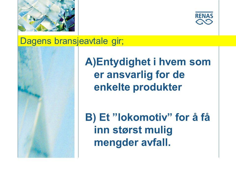 Dagens bransjeavtale gir; A)Entydighet i hvem som er ansvarlig for de enkelte produkter B) Et lokomotiv for å få inn størst mulig mengder avfall.