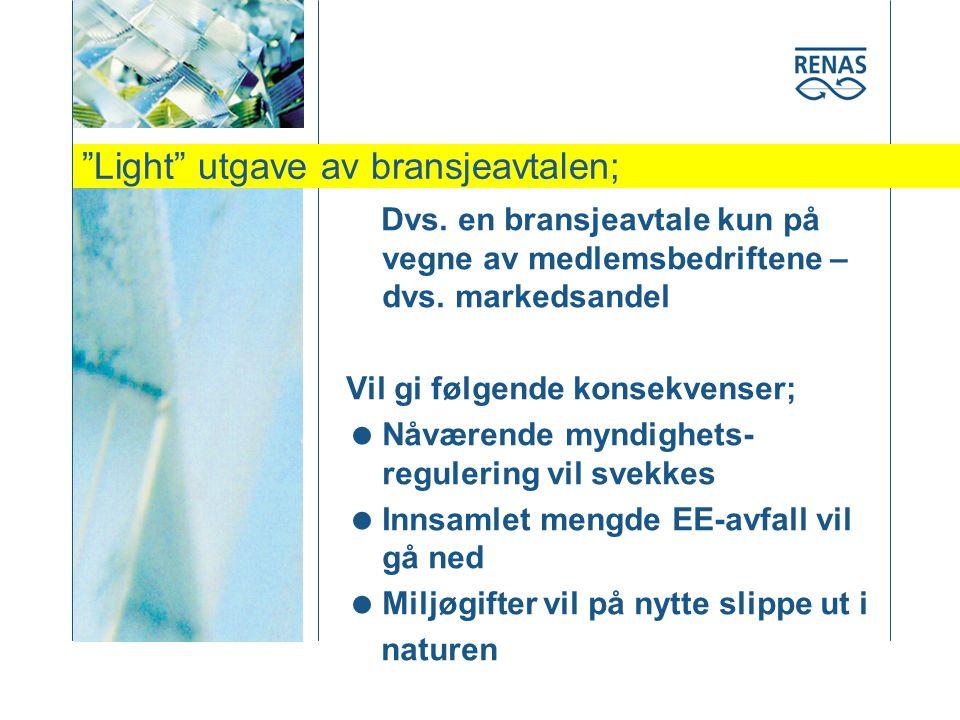 Light utgave av bransjeavtalen; Dvs. en bransjeavtale kun på vegne av medlemsbedriftene – dvs.