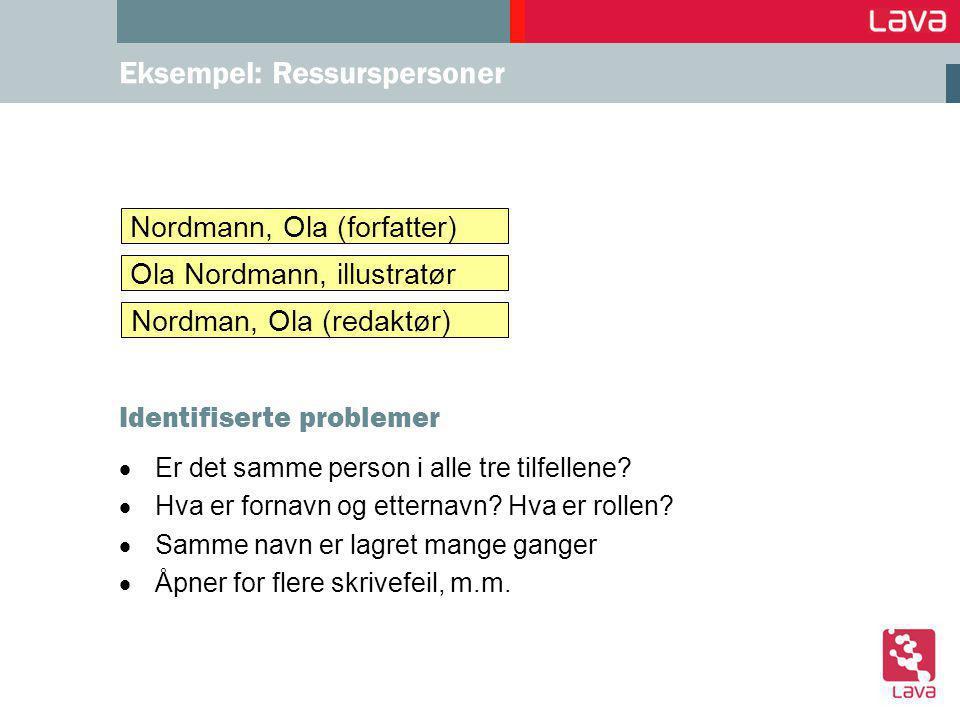 Eksempel: Ressurspersoner  Er det samme person i alle tre tilfellene.