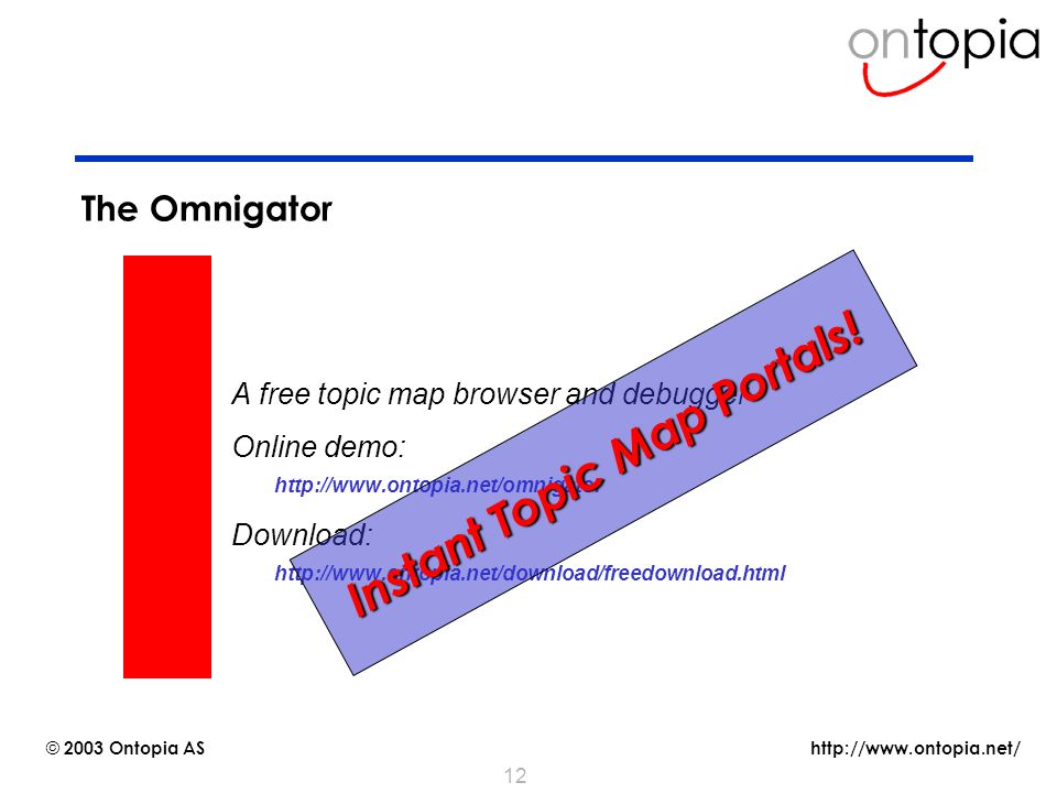http://www.ontopia.net/ © 2003 Ontopia AS 12 The Omnigator A free topic map browser and debugger Online demo:  http://www.ontopia.net/omnigator Downl