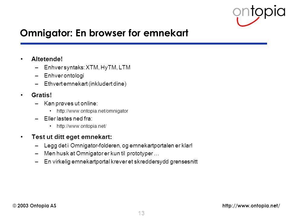 http://www.ontopia.net/ © 2003 Ontopia AS 13 Omnigator: En browser for emnekart Altetende! –Enhver syntaks: XTM, HyTM, LTM –Enhver ontologi –Ethvert e
