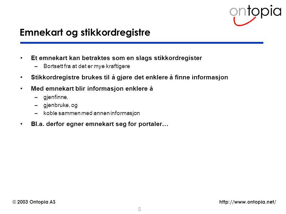 http://www.ontopia.net/ © 2003 Ontopia AS 26 Grunnleggende arkitektur for en emnekartportal emne- kart- appli- kasjon server brukere emne- kart klient data og dokumenter Vedlikehold av en emnekartportal