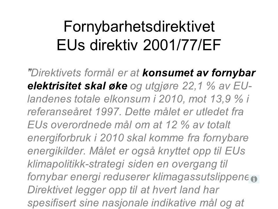 """Fornybarhetsdirektivet EUs direktiv 2001/77/EF """"Direktivets formål er at konsumet av fornybar elektrisitet skal øke og utgjøre 22,1 % av EU- landenes"""