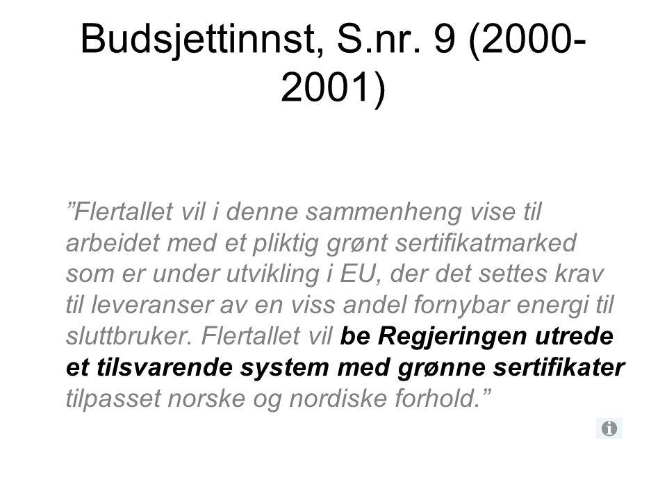 """Budsjettinnst, S.nr. 9 (2000- 2001) """"Flertallet vil i denne sammenheng vise til arbeidet med et pliktig grønt sertifikatmarked som er under utvikling"""