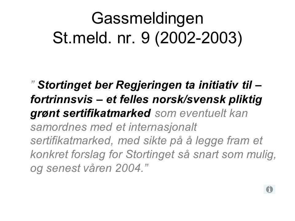 """Gassmeldingen St.meld. nr. 9 (2002-2003) """" Stortinget ber Regjeringen ta initiativ til – fortrinnsvis – et felles norsk/svensk pliktig grønt sertifika"""