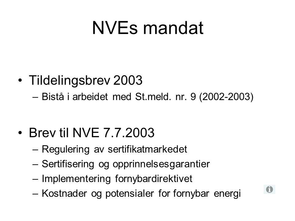 NVEs mandat Tildelingsbrev 2003 –Bistå i arbeidet med St.meld. nr. 9 (2002-2003) Brev til NVE 7.7.2003 –Regulering av sertifikatmarkedet –Sertifiserin