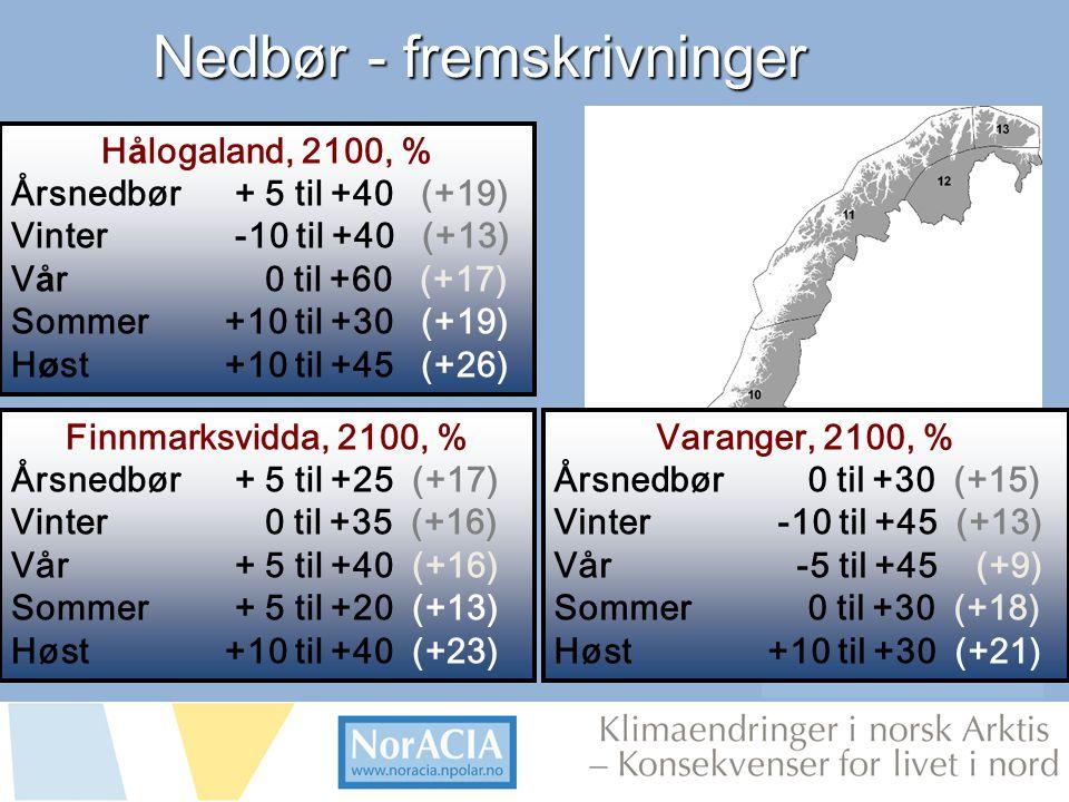limaendringer i norsk Arktis – Knsekvenser for livet i nord Nedbør - fremskrivninger Finnmarksvidda, 2100, % Årsnedbør + 5 til +25 (+17) Vinter 0 til +35 (+16) Vår + 5 til +40 (+16) Sommer + 5 til +20 (+13) Høst +10 til +40 (+23) H å logaland, 2100, % Årsnedbør + 5 til +40 (+19) Vinter -10 til +40 (+13) V å r 0 til +60 (+17) Sommer+10 til +30 (+19) H ø st+10 til +45 (+26) Hanssen-Bauer m.