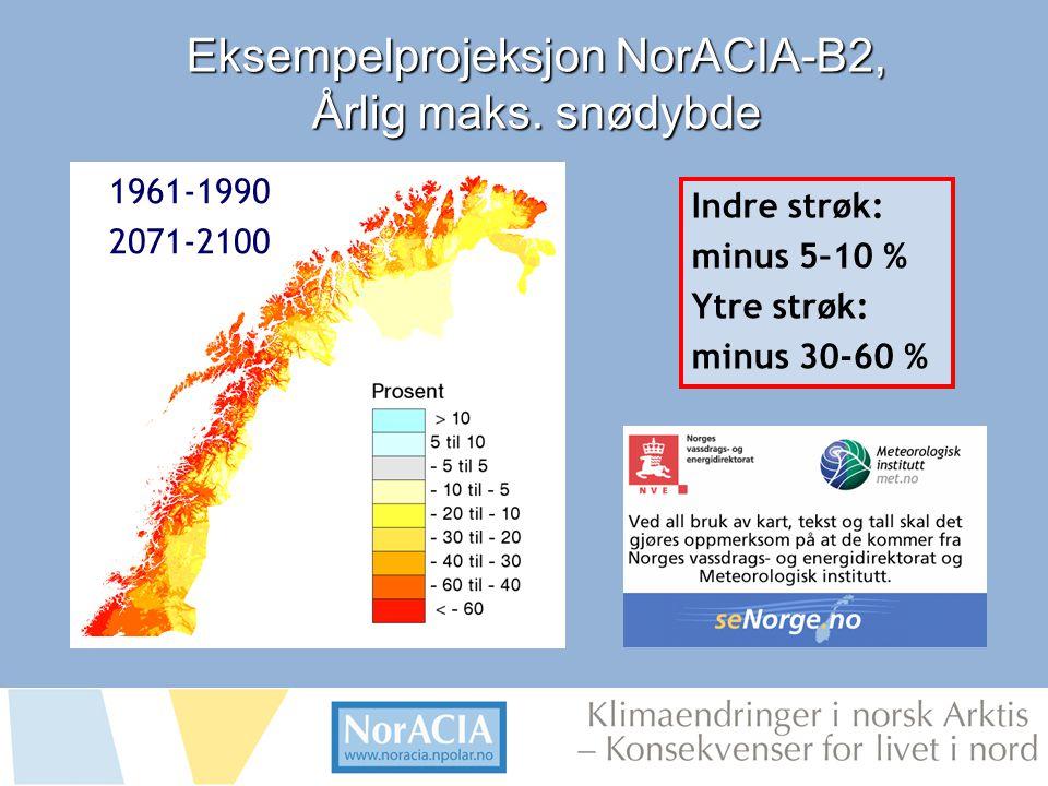limaendringer i norsk Arktis – Knsekvenser for livet i nord Eksempelprojeksjon NorACIA-B2, Årlig maks.