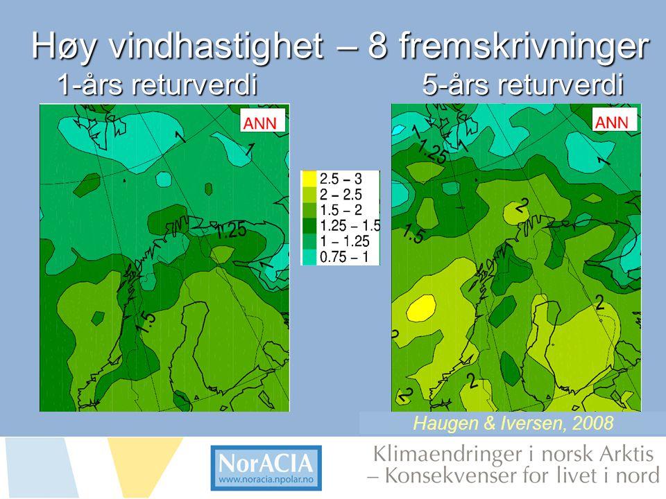 limaendringer i norsk Arktis – Knsekvenser for livet i nord Høy vindhastighet – 8 fremskrivninger 1-års returverdi5-års returverdi Haugen & Iversen, 2008