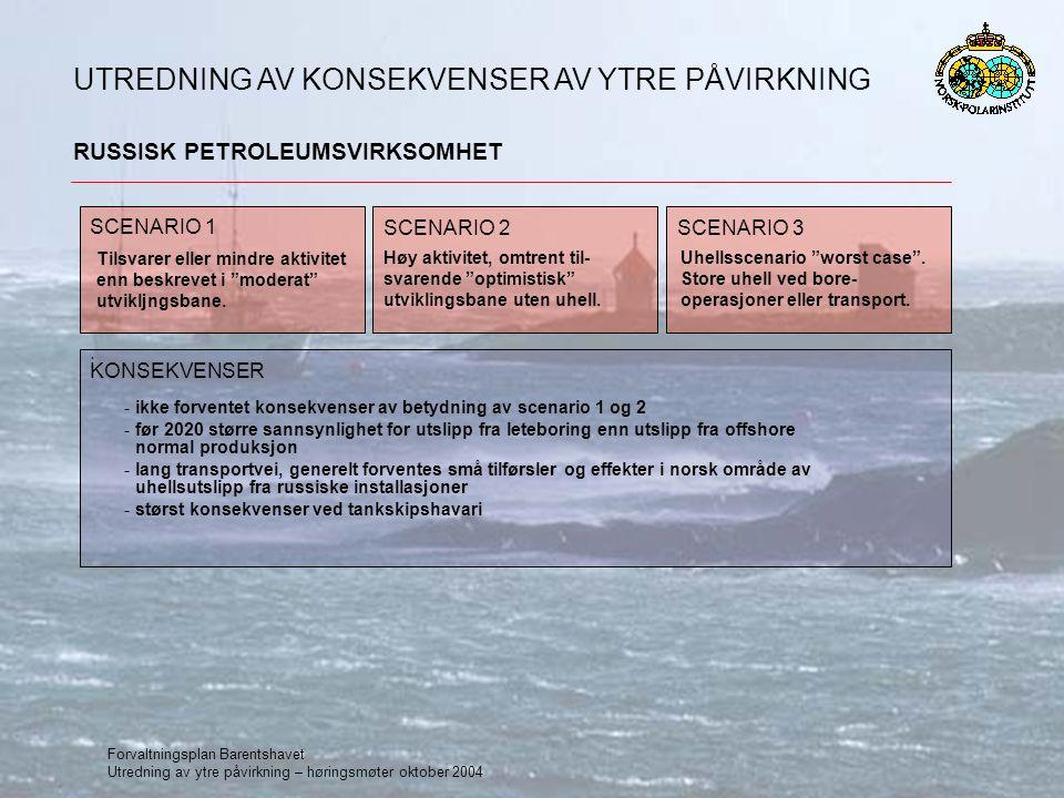 Forvaltningsplan Barentshavet Utredning av ytre påvirkning – høringsmøter oktober 2004 RUSSISK PETROLEUMSVIRKSOMHET UTREDNING AV KONSEKVENSER AV YTRE PÅVIRKNING SCENARIO 1 : SCENARIO 2SCENARIO 3 Tilsvarer eller mindre aktivitet enn beskrevet i moderat utvikljngsbane.