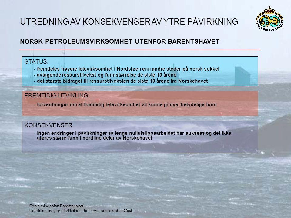 Forvaltningsplan Barentshavet Utredning av ytre påvirkning – høringsmøter oktober 2004 NORSK PETROLEUMSVIRKSOMHET UTENFOR BARENTSHAVET UTREDNING AV KONSEKVENSER AV YTRE PÅVIRKNING STATUS: FREMTIDIG UTVIKLING: -forventninger om at framtidig letevirkeomhet vil kunne gi nye, betydelige funn KONSEKVENSER -ingen endringer i påvirkninger så lenge nullutslippsarbeidet har suksess og det ikke gjøres større funn i nordlige deler av Norskehavet -fremdeles høyere letevirksomhet i Nordsjøen enn andre steder på norsk sokkel -avtagende ressurstilvekst og funnstørrelse de siste 10 årene -det største bidraget til ressurstilveksten de siste 10 årene fra Norskehavet