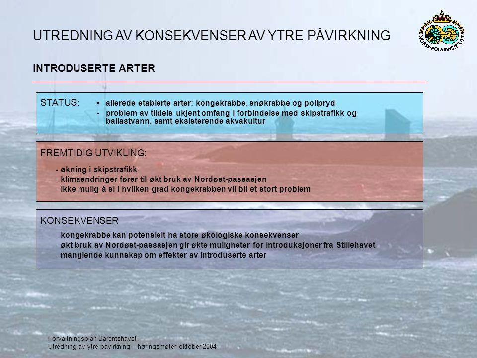 Forvaltningsplan Barentshavet Utredning av ytre påvirkning – høringsmøter oktober 2004 INTRODUSERTE ARTER UTREDNING AV KONSEKVENSER AV YTRE PÅVIRKNING