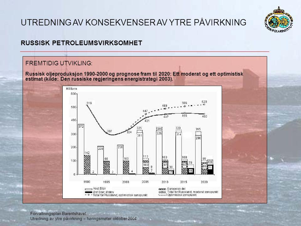 Forvaltningsplan Barentshavet Utredning av ytre påvirkning – høringsmøter oktober 2004 RUSSISK PETROLEUMSVIRKSOMHET UTREDNING AV KONSEKVENSER AV YTRE PÅVIRKNING FREMTIDIG UTVIKLING: Russisk oljeproduksjon 1990-2000 og prognose fram til 2020: Ett moderat og ett optimistisk estimat (kilde: Den russiske regjeringens energistrategi 2003).