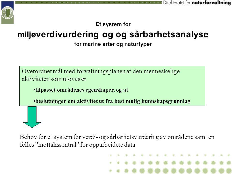 """Behov for et system for verdi- og sårbarhetsvurdering av områdene samt en felles """"mottakssentral"""" for opparbeidete data Et system for miljø verdivurde"""