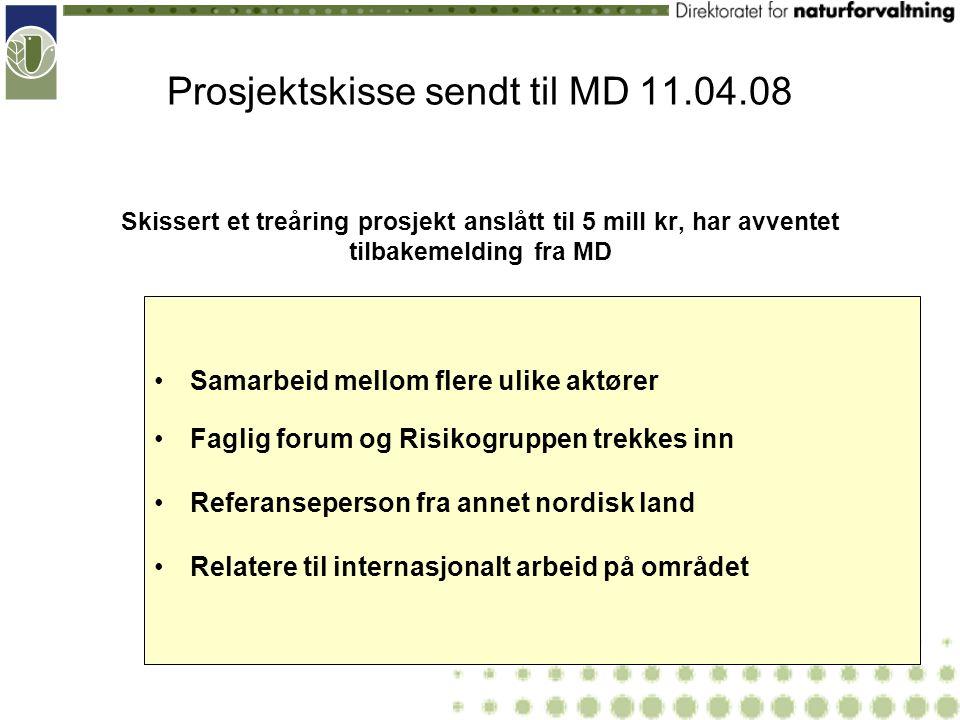 Prosjektskisse sendt til MD 11.04.08 Skissert et treåring prosjekt anslått til 5 mill kr, har avventet tilbakemelding fra MD Samarbeid mellom flere ul