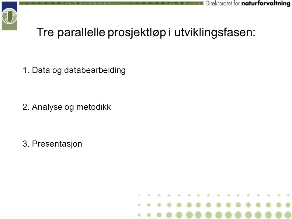 Tre parallelle prosjektløp i utviklingsfasen: 1. Data og databearbeiding 2. Analyse og metodikk 3. Presentasjon