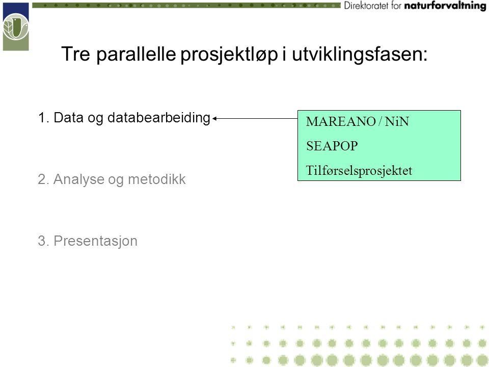 Tre parallelle prosjektløp i utviklingsfasen: 1. Data og databearbeiding 2. Analyse og metodikk 3. Presentasjon MAREANO / NiN SEAPOP Tilførselsprosjek
