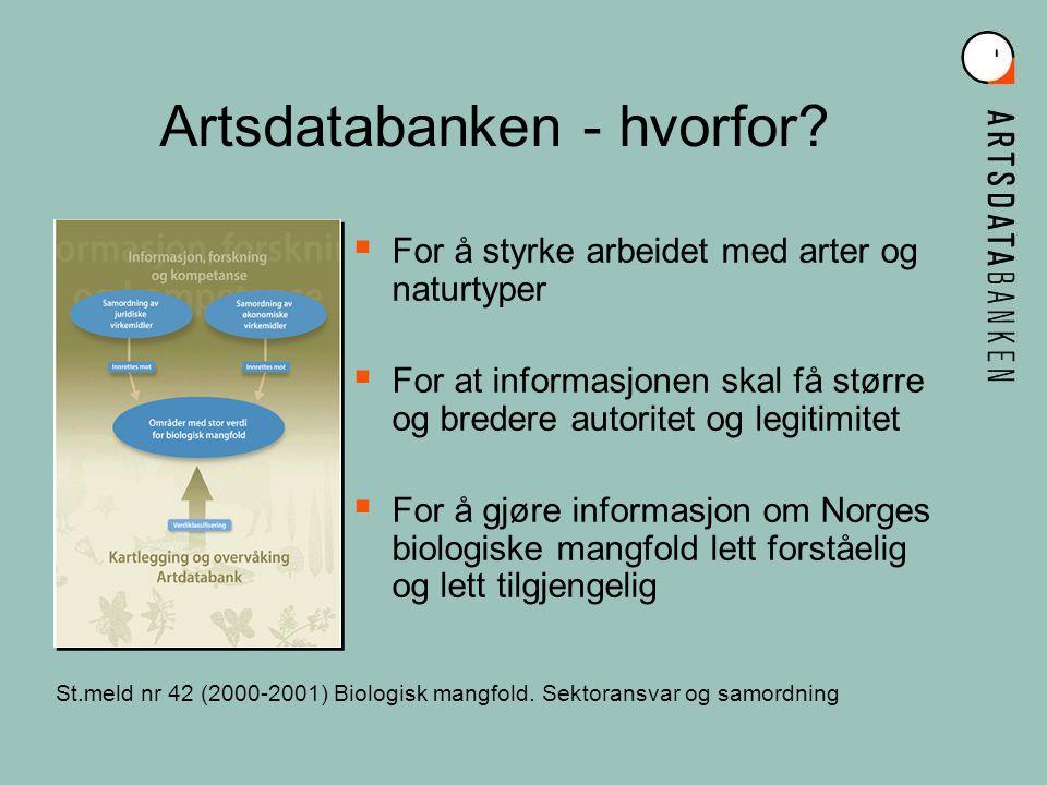 GBIF Mission Global database biologisk mangfold Helhetsperspektiv og delingsverdi NFR ansvarlig GBIF-Norge Driftes av NHM-UiO Tett samarbeid GBIF-Norge og Artsdatabanken Global Biodiversity Information Facility