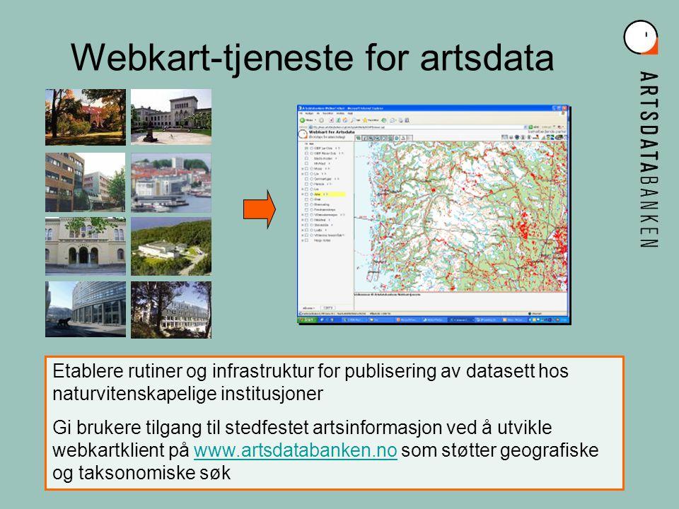 Grunnleggende prinsipp Dataeier forvalter og kvalitetsikrer egne data Eierskapet til data vil være synlig ved innsyn Dataeier gjør tilgjengelig data i standard format Dataeier etablerer datatjenester som gjør data søk- og lesbare i web-baserte kartgrensesnitt Data lagres ett sted og blir tilgjengelig i sann tid for alle som skal forvalte og bruke data til analyser, unngå kopiering Webkart-tjenesten bygger på geografiske standarder i Norge Digitalt og internasjonale standarder for datadistribusjon (WMS, SLD, WFS)