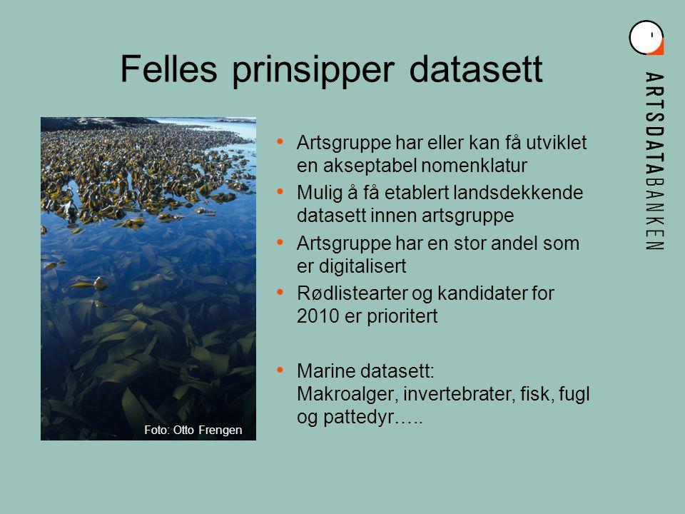 Artsgruppe har eller kan få utviklet en akseptabel nomenklatur Mulig å få etablert landsdekkende datasett innen artsgruppe Artsgruppe har en stor andel som er digitalisert Rødlistearter og kandidater for 2010 er prioritert Marine datasett: Makroalger, invertebrater, fisk, fugl og pattedyr…..
