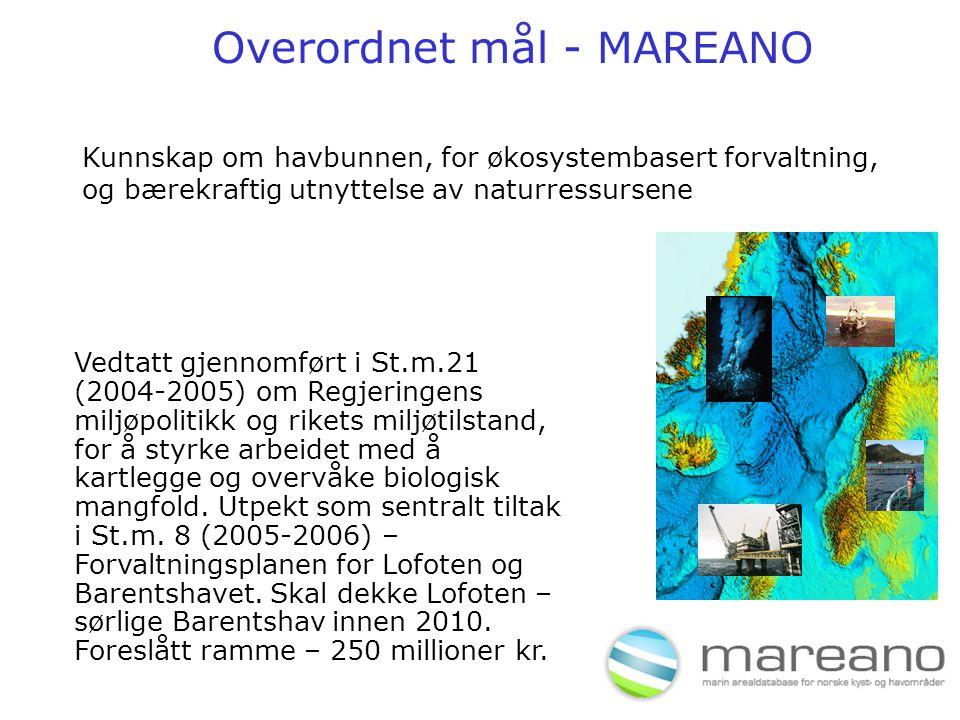 Overordnet mål - MAREANO Vedtatt gjennomført i St.m.21 (2004-2005) om Regjeringens miljøpolitikk og rikets miljøtilstand, for å styrke arbeidet med å kartlegge og overvåke biologisk mangfold.